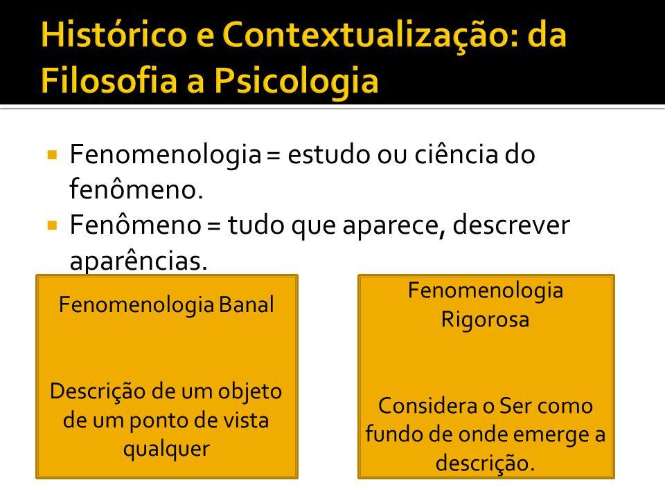 Histórico e Contextualização: da Filosofia a Psicologia