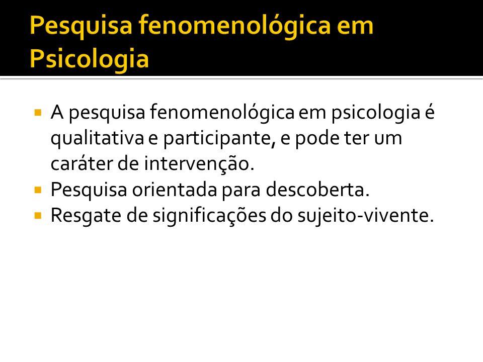 Pesquisa fenomenológica em Psicologia