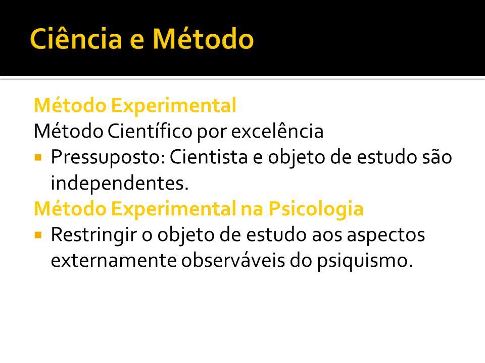 Ciência e Método Método Experimental Método Científico por excelência