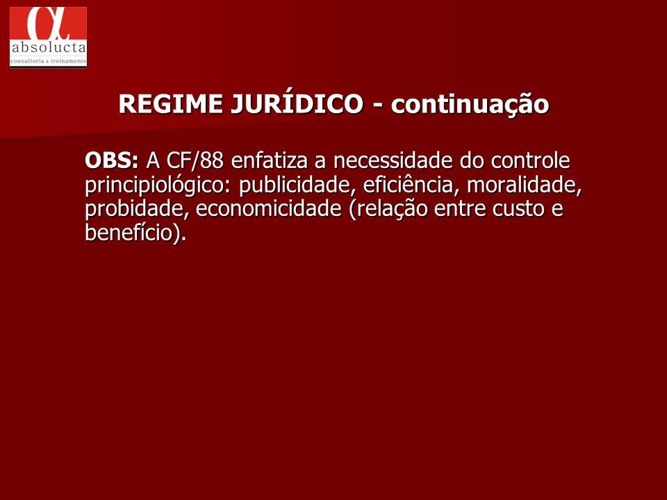REGIME JURÍDICO - continuação