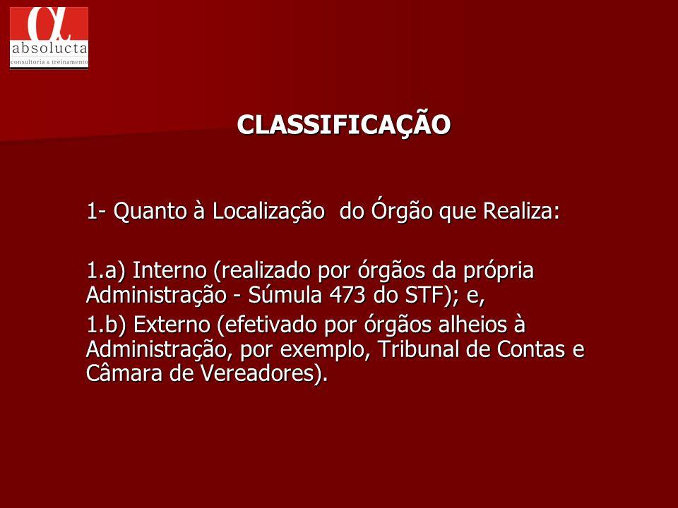 CLASSIFICAÇÃO 1- Quanto à Localização do Órgão que Realiza: