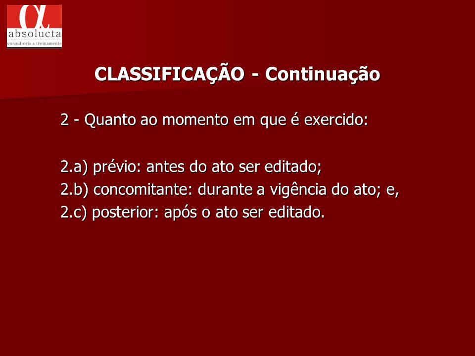 CLASSIFICAÇÃO - Continuação