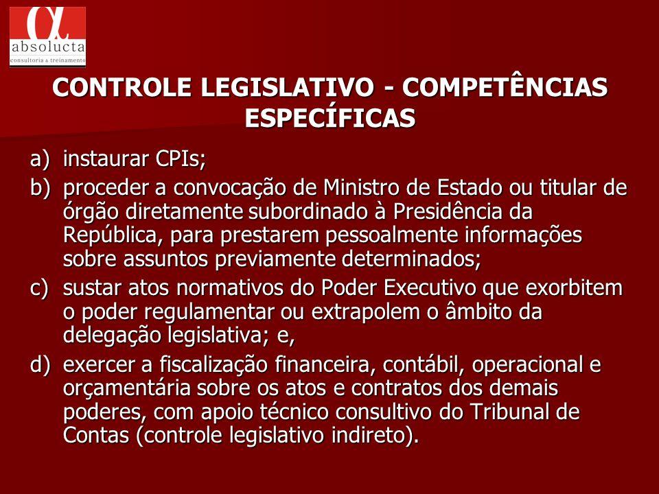 CONTROLE LEGISLATIVO - COMPETÊNCIAS ESPECÍFICAS