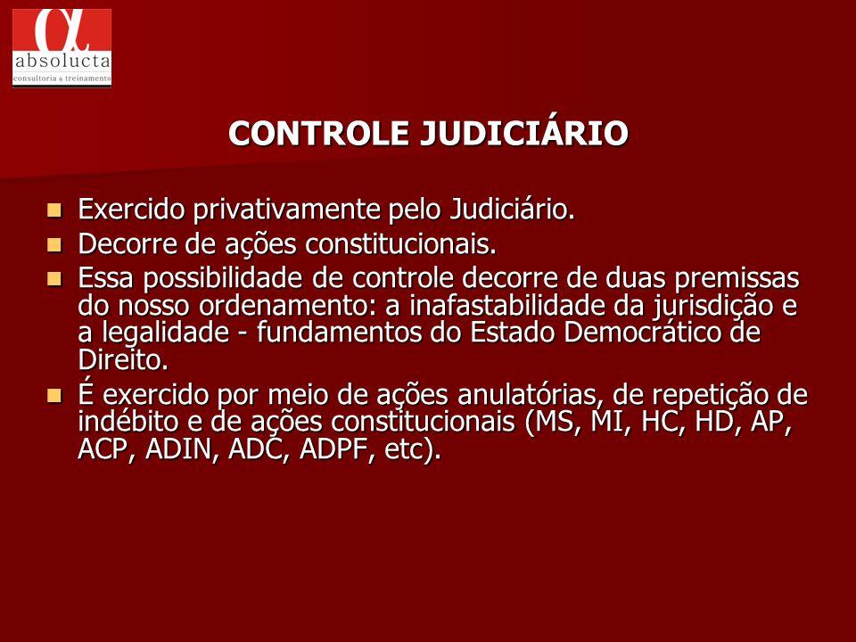 CONTROLE JUDICIÁRIO Exercido privativamente pelo Judiciário.