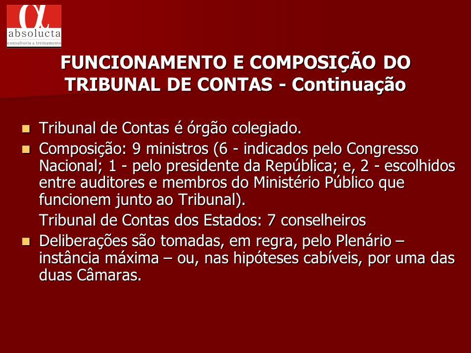 FUNCIONAMENTO E COMPOSIÇÃO DO TRIBUNAL DE CONTAS - Continuação