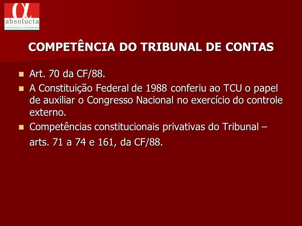 COMPETÊNCIA DO TRIBUNAL DE CONTAS