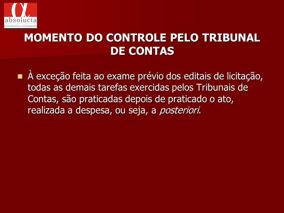 MOMENTO DO CONTROLE PELO TRIBUNAL DE CONTAS