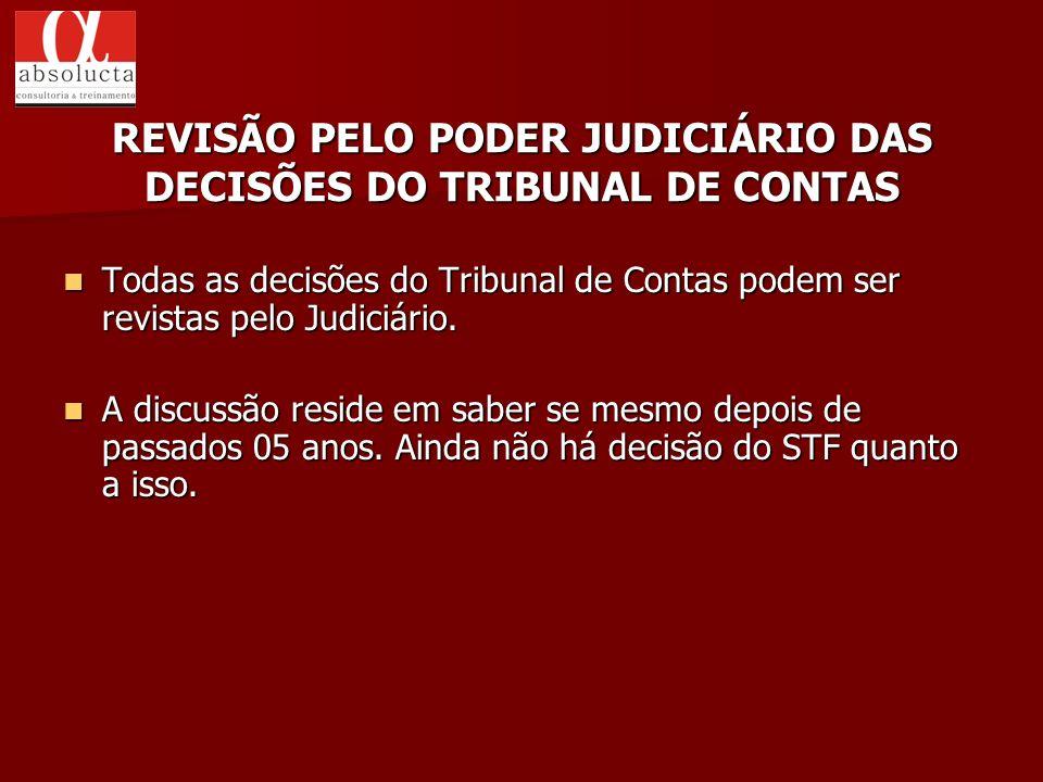REVISÃO PELO PODER JUDICIÁRIO DAS DECISÕES DO TRIBUNAL DE CONTAS