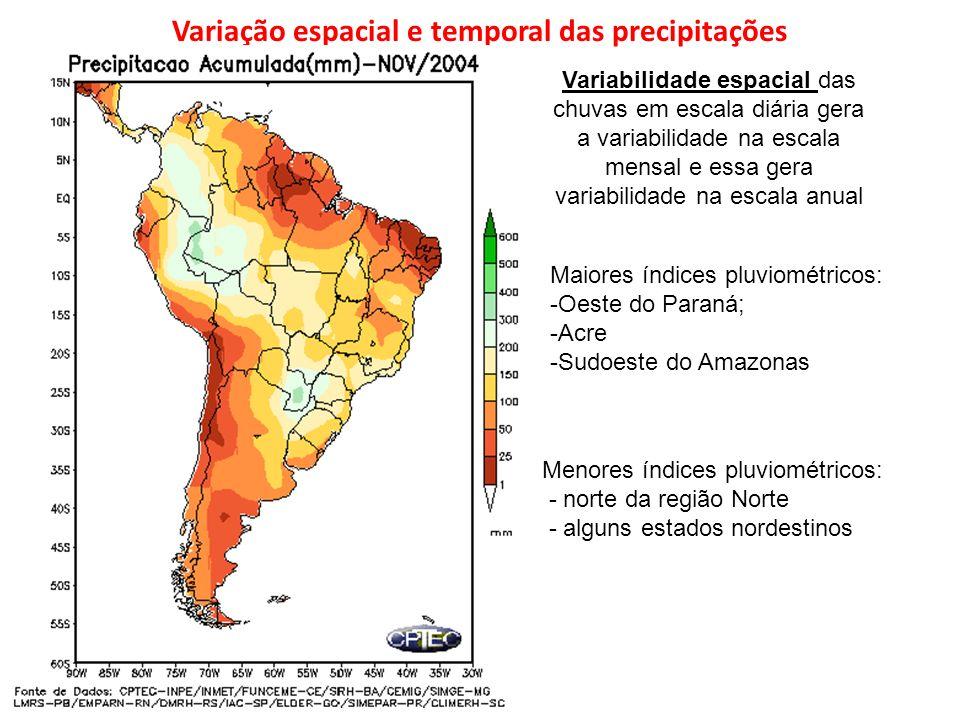 Variação espacial e temporal das precipitações