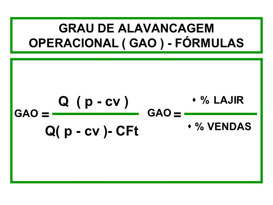 GRAU DE ALAVANCAGEM OPERACIONAL ( GAO ) - FÓRMULAS