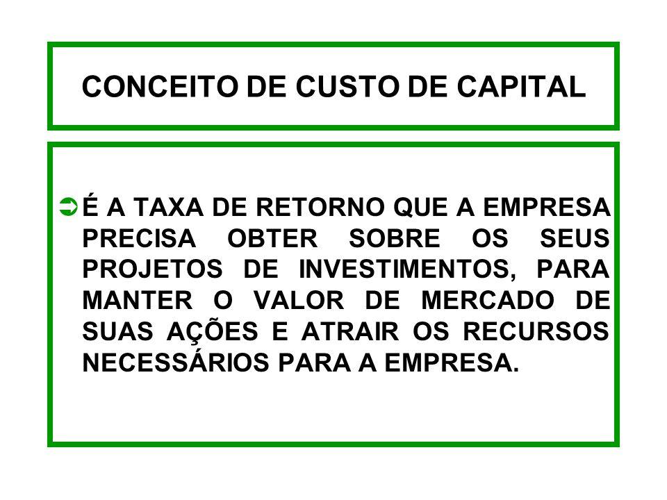 CONCEITO DE CUSTO DE CAPITAL
