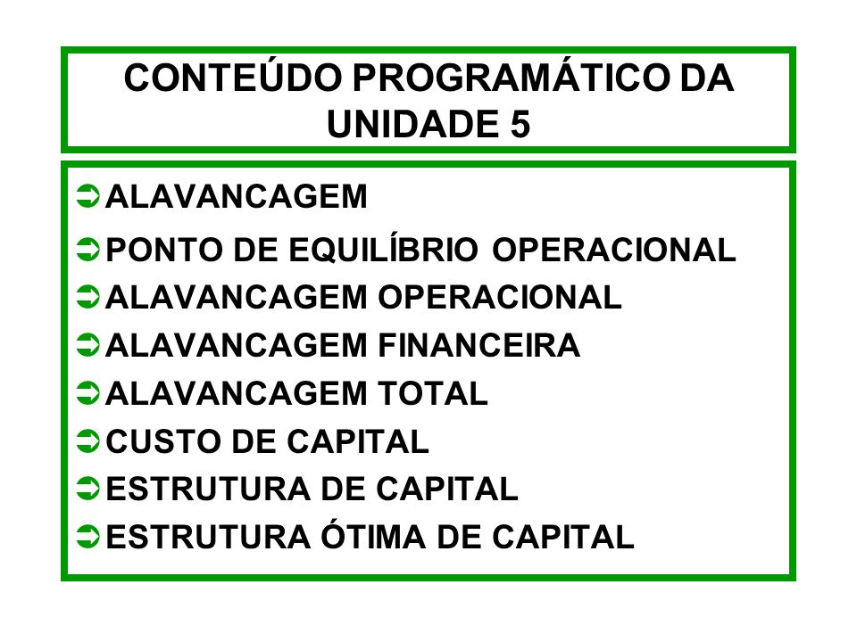 CONTEÚDO PROGRAMÁTICO DA UNIDADE 5