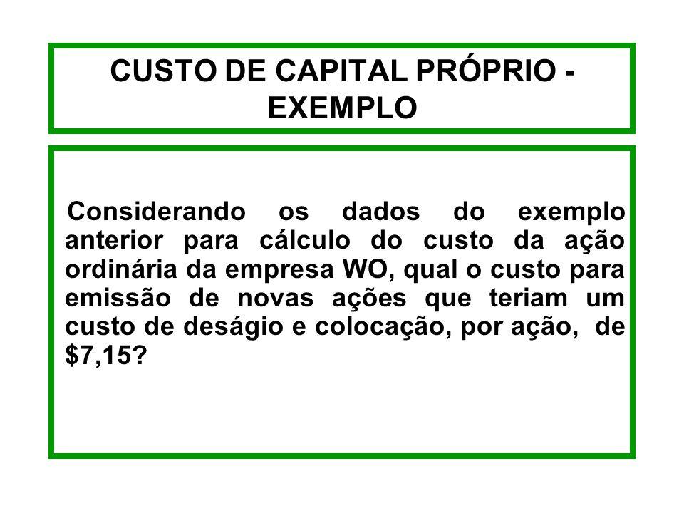 CUSTO DE CAPITAL PRÓPRIO - EXEMPLO