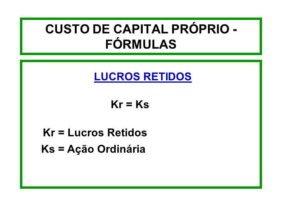 CUSTO DE CAPITAL PRÓPRIO - FÓRMULAS