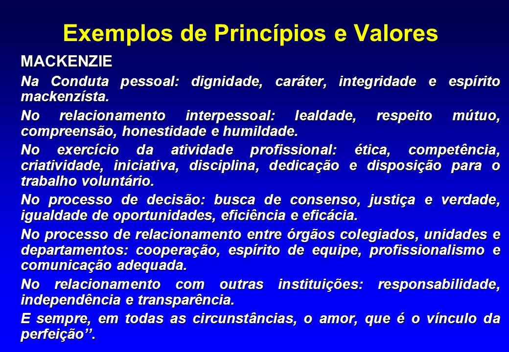Exemplos de Princípios e Valores
