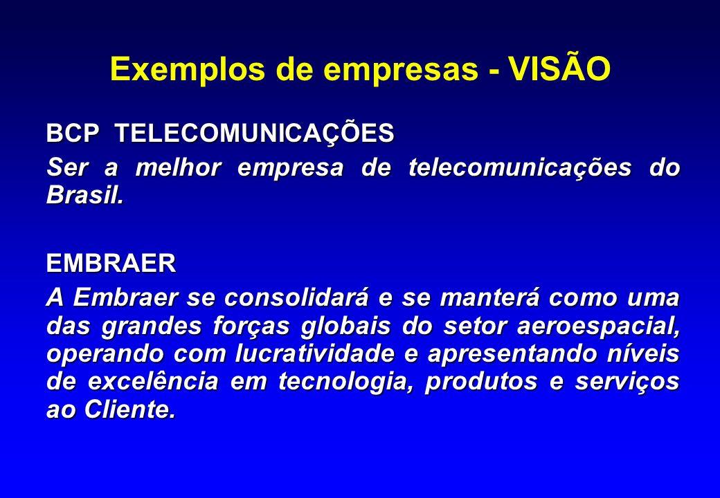 Exemplos de empresas - VISÃO
