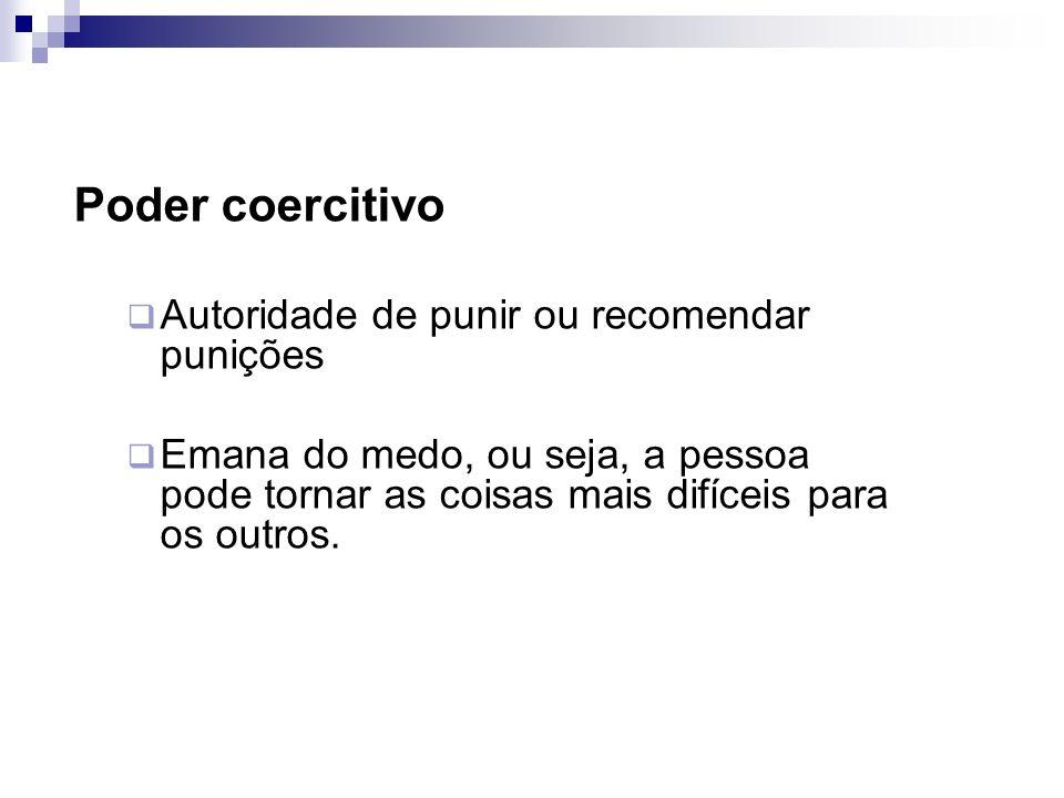 Poder coercitivo Autoridade de punir ou recomendar punições