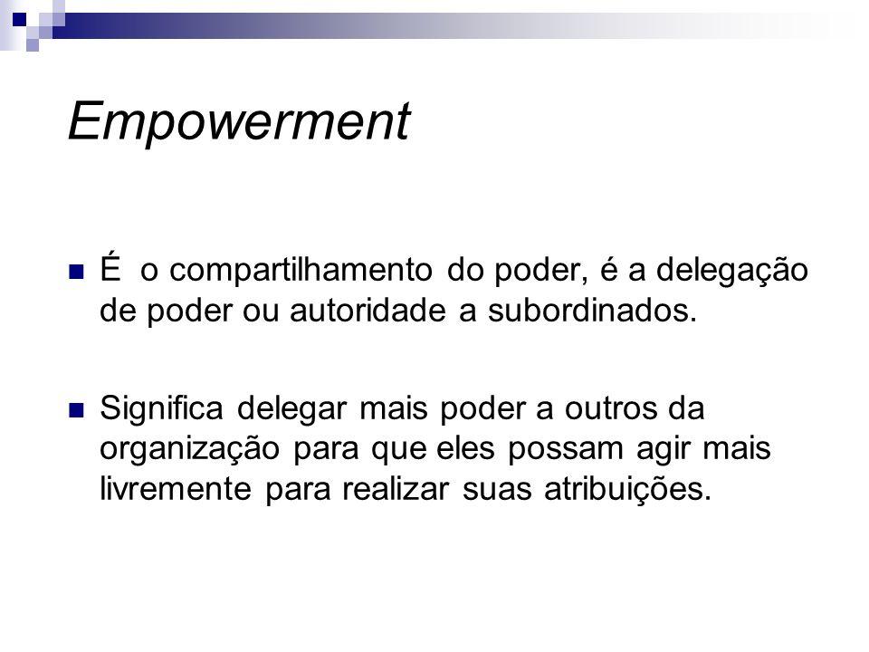 Empowerment É o compartilhamento do poder, é a delegação de poder ou autoridade a subordinados.