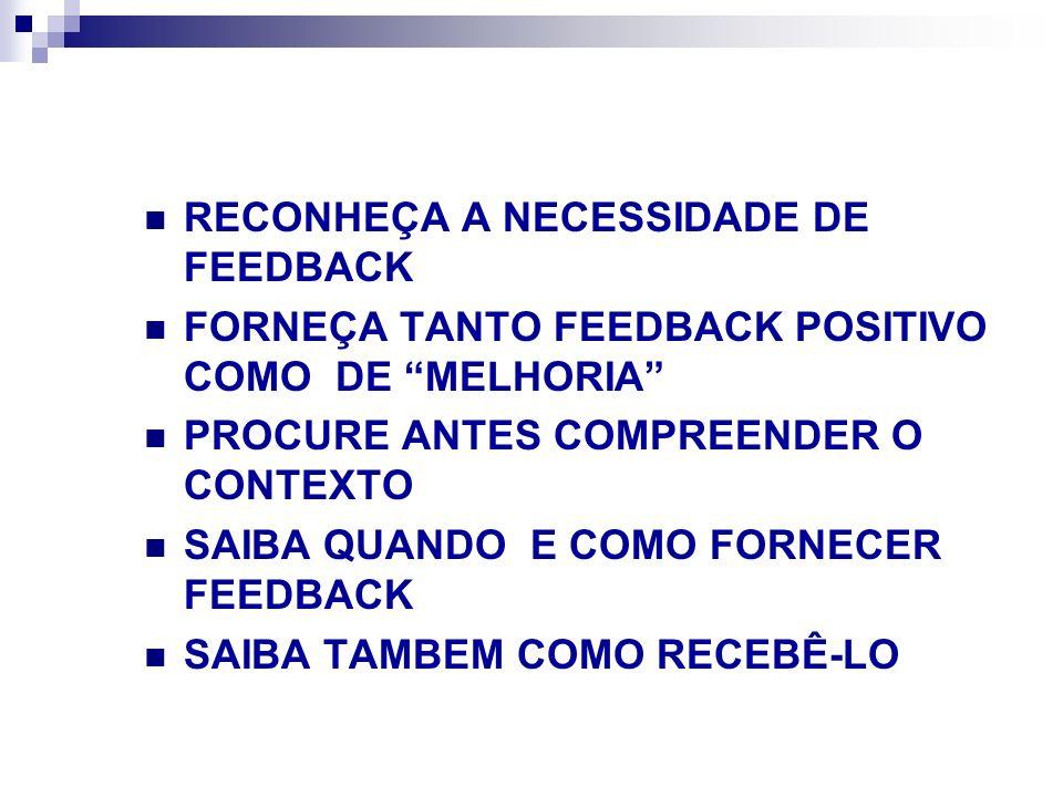 RECONHEÇA A NECESSIDADE DE FEEDBACK