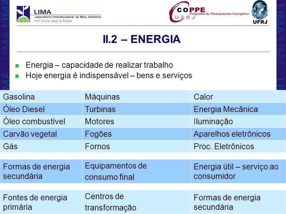 II.2 – ENERGIA Energia – capacidade de realizar trabalho
