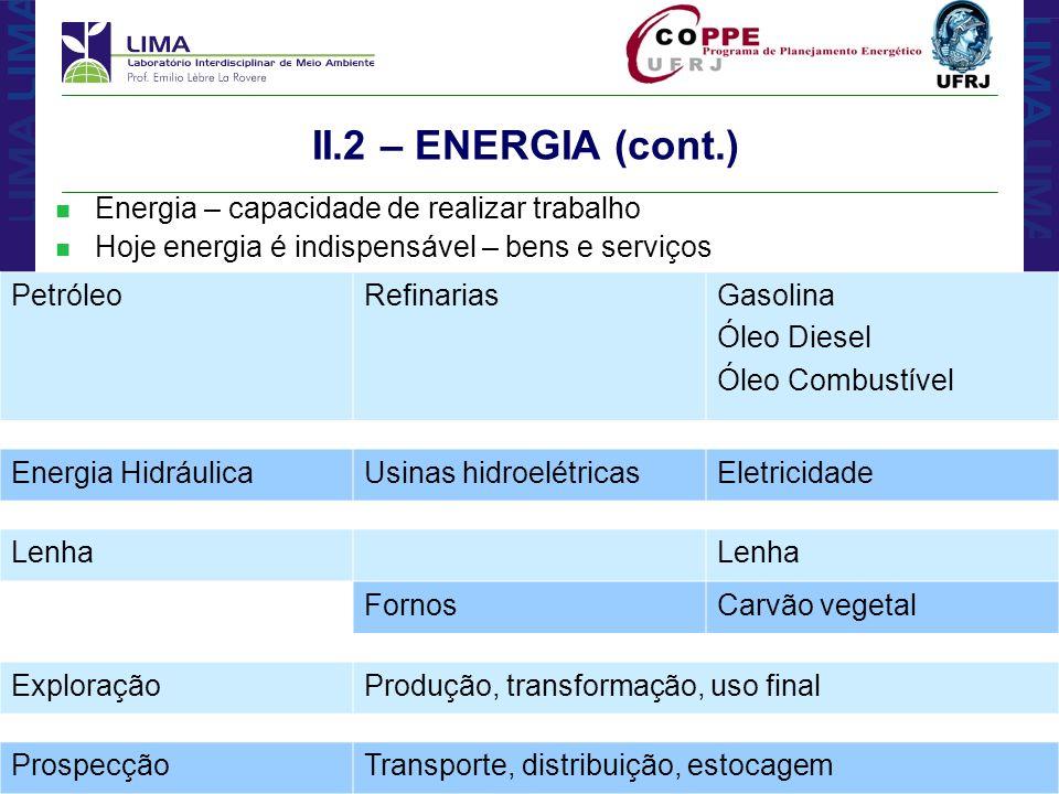 II.2 – ENERGIA (cont.) Energia – capacidade de realizar trabalho