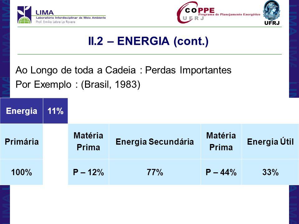 II.2 – ENERGIA (cont.) Ao Longo de toda a Cadeia : Perdas Importantes