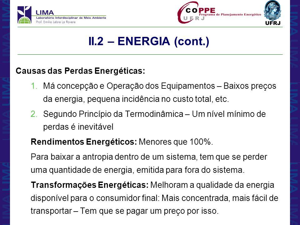 II.2 – ENERGIA (cont.) Causas das Perdas Energéticas: