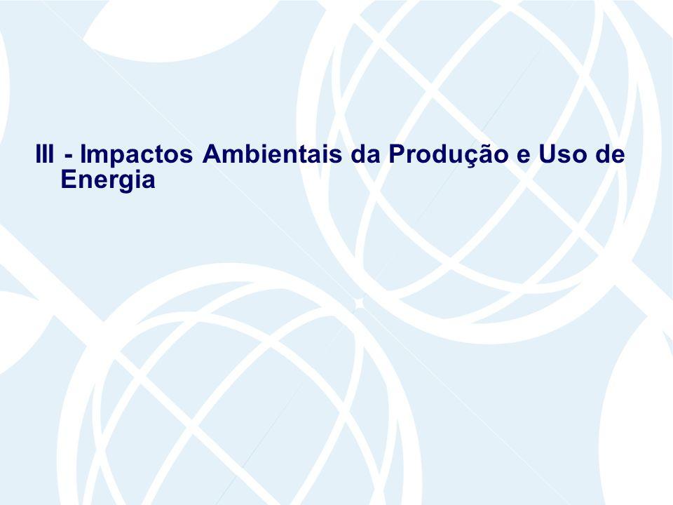 III - Impactos Ambientais da Produção e Uso de Energia
