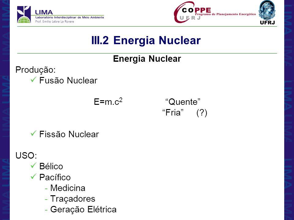 III.2 Energia Nuclear Energia Nuclear Produção: Fusão Nuclear