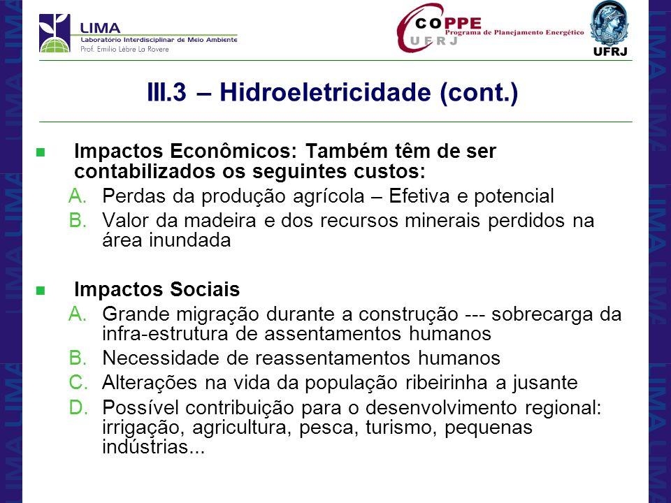 III.3 – Hidroeletricidade (cont.)