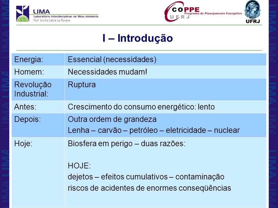 I – Introdução Energia: Essencial (necessidades) Homem: