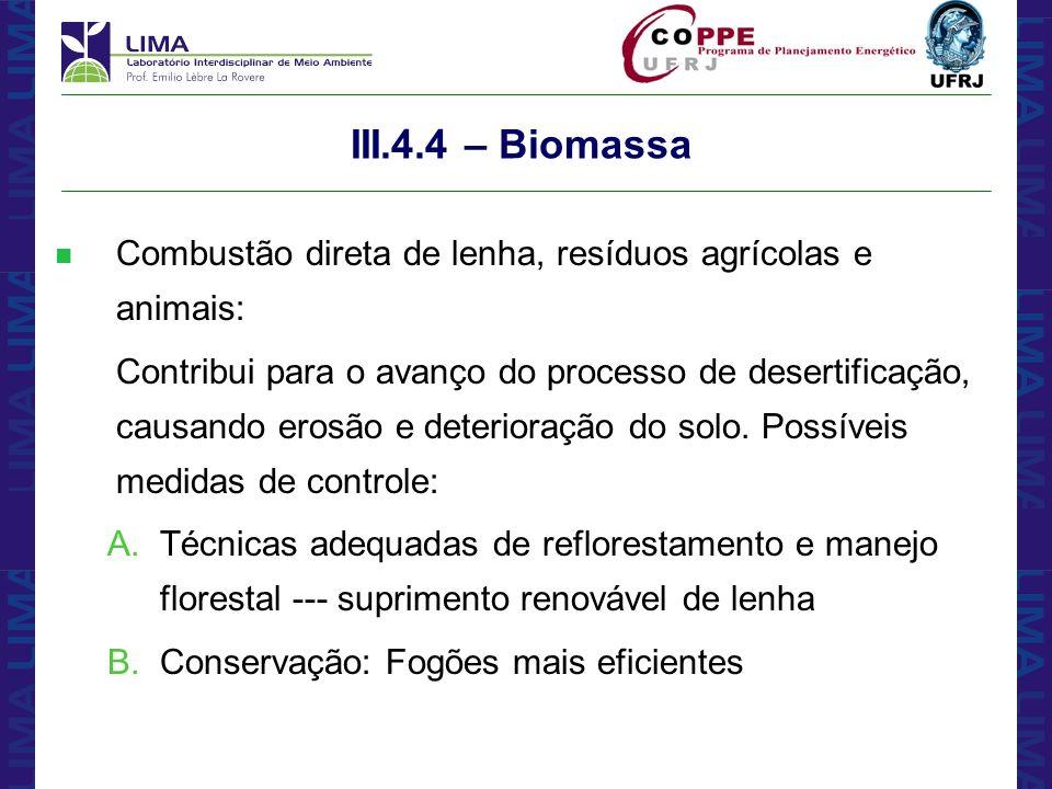 III.4.4 – BiomassaCombustão direta de lenha, resíduos agrícolas e animais: