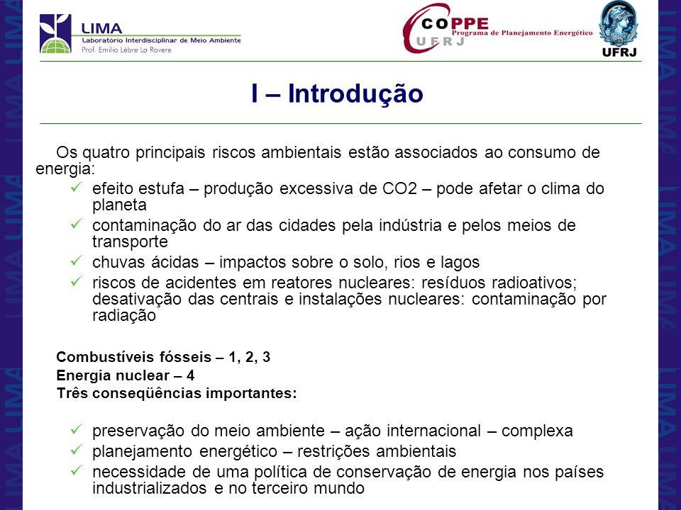 I – Introdução Os quatro principais riscos ambientais estão associados ao consumo de energia: