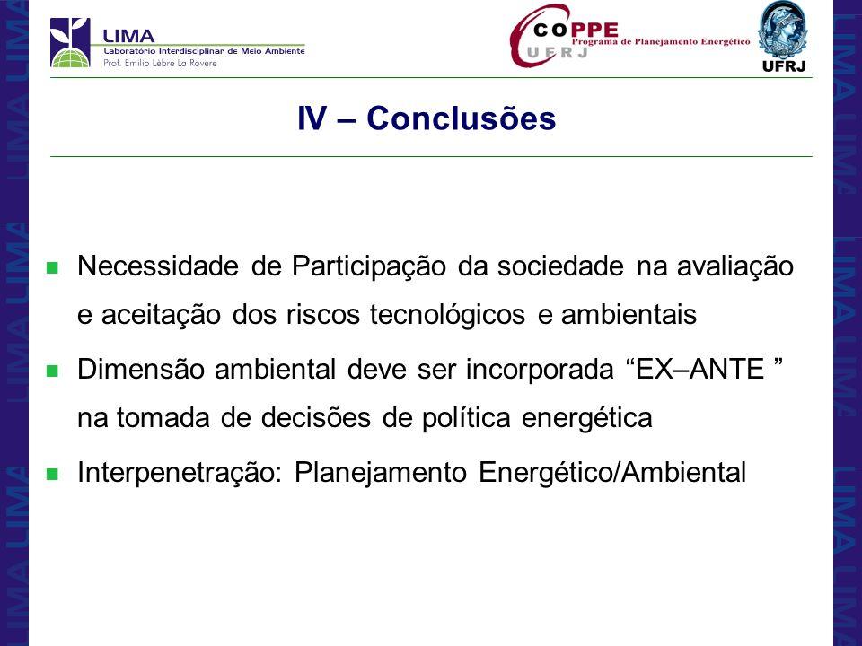 IV – ConclusõesNecessidade de Participação da sociedade na avaliação e aceitação dos riscos tecnológicos e ambientais.