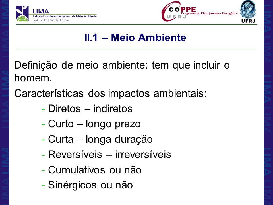 II.1 – Meio Ambiente Definição de meio ambiente: tem que incluir o homem. Características dos impactos ambientais: