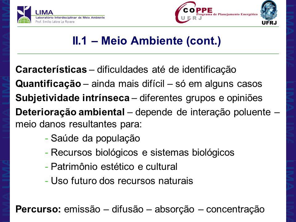 II.1 – Meio Ambiente (cont.)