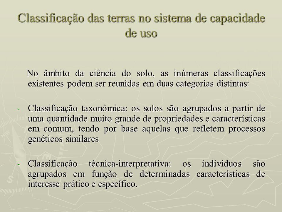 Classificação das terras no sistema de capacidade de uso
