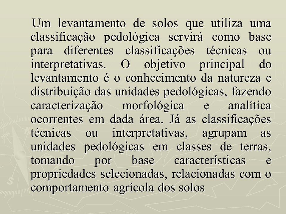 Um levantamento de solos que utiliza uma classificação pedológica servirá como base para diferentes classificações técnicas ou interpretativas.