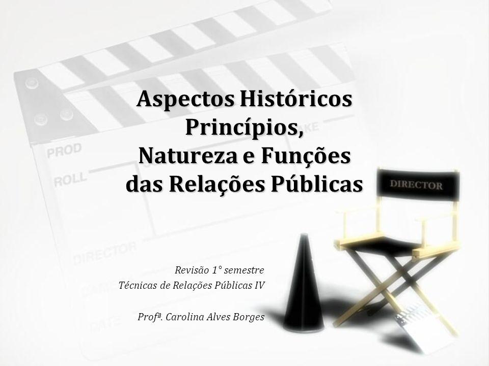 Aspectos Históricos Princípios, Natureza e Funções das Relações Públicas