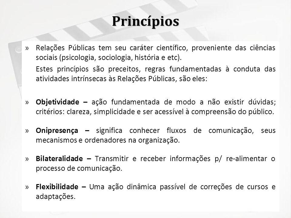 PrincípiosRelações Públicas tem seu caráter científico, proveniente das ciências sociais (psicologia, sociologia, história e etc).