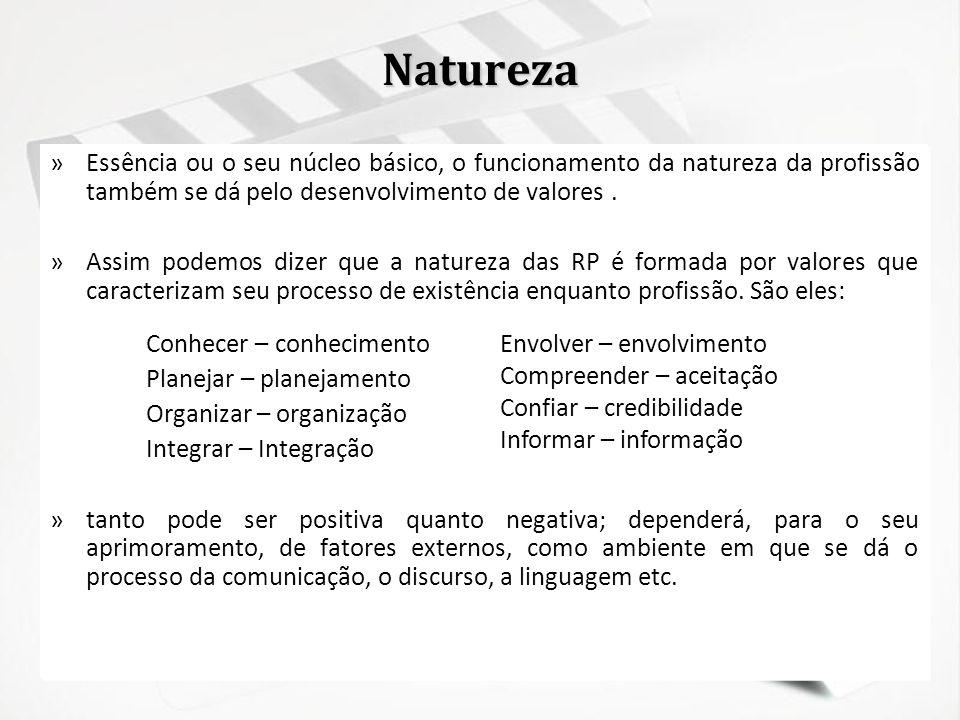 Natureza Essência ou o seu núcleo básico, o funcionamento da natureza da profissão também se dá pelo desenvolvimento de valores .