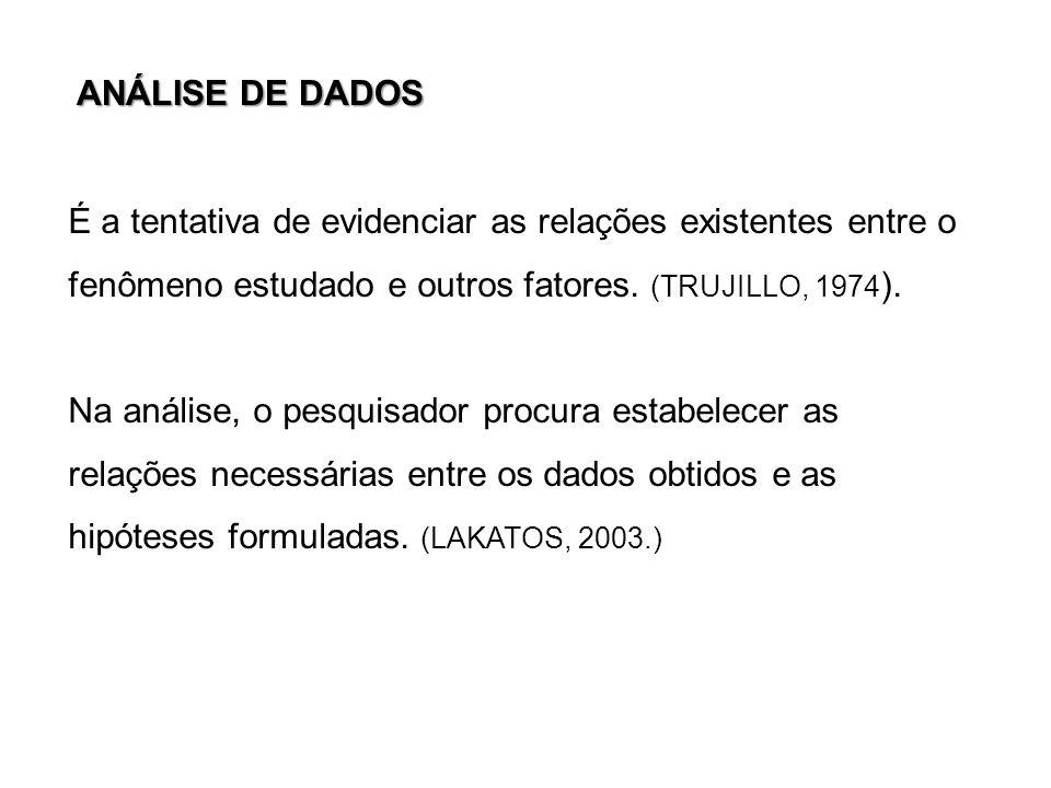 ANÁLISE DE DADOS É a tentativa de evidenciar as relações existentes entre o. fenômeno estudado e outros fatores. (TRUJILLO, 1974).