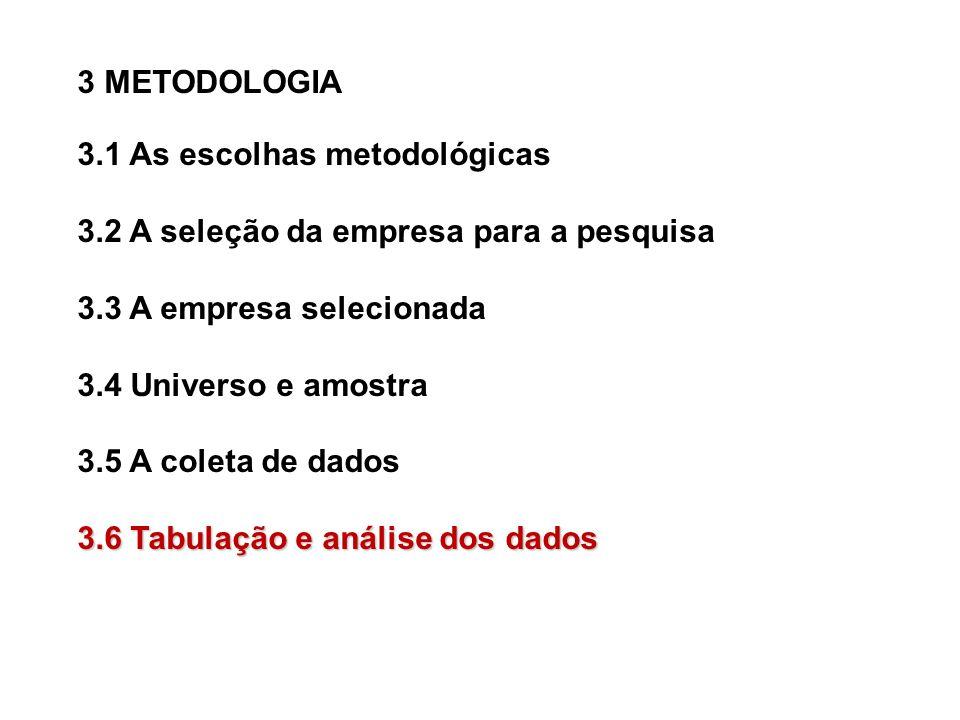 3 METODOLOGIA 3.1 As escolhas metodológicas. 3.2 A seleção da empresa para a pesquisa. 3.3 A empresa selecionada.
