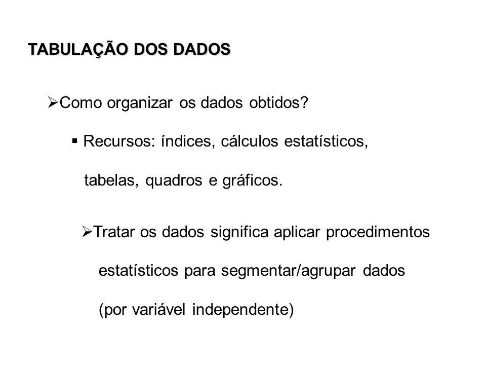 TABULAÇÃO DOS DADOS Como organizar os dados obtidos Recursos: índices, cálculos estatísticos, tabelas, quadros e gráficos.