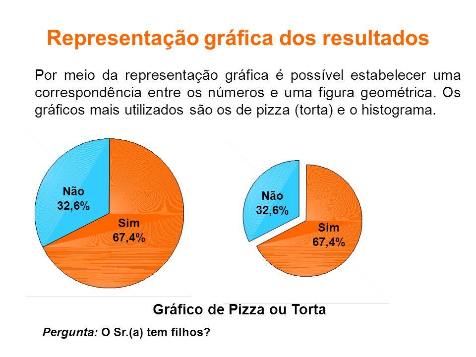 Representação gráfica dos resultados Gráfico de Pizza ou Torta