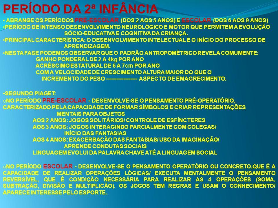 PERÍODO DA 2ª INFÂNCIA ABRANGE OS PERÍODOS PRÉ-ESCOLAR (DOS 2 AOS 5 ANOS) E ESCOLAR (DOS 6 AOS 9 ANOS)