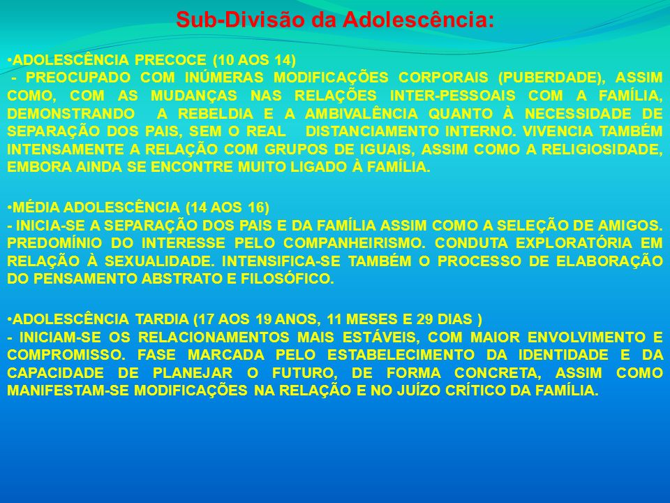 Sub-Divisão da Adolescência: