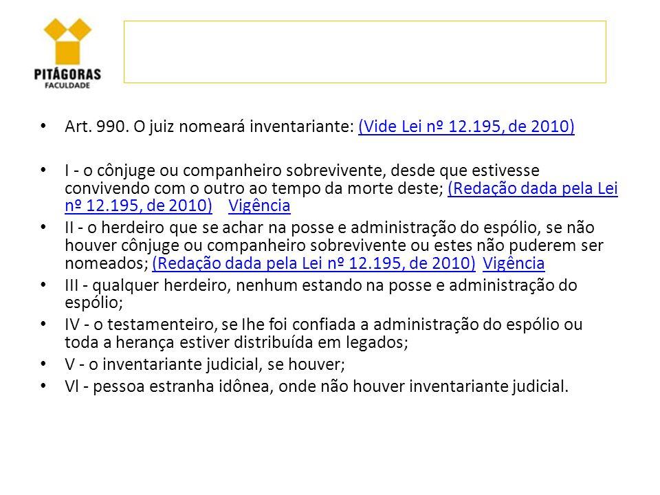Art. 990. O juiz nomeará inventariante: (Vide Lei nº 12.195, de 2010)