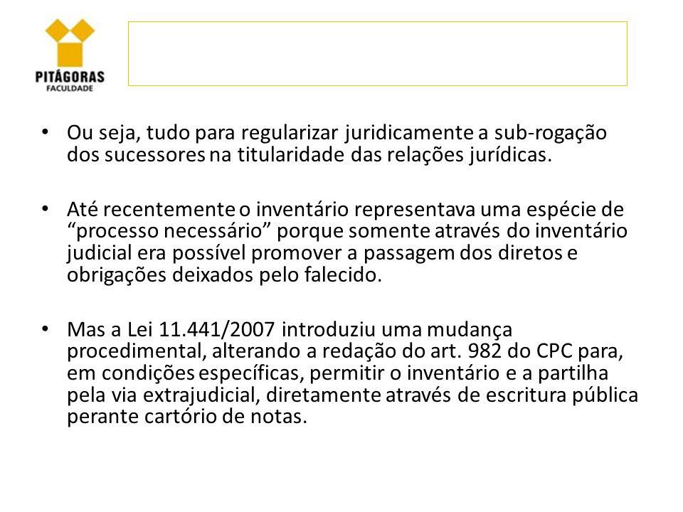 Ou seja, tudo para regularizar juridicamente a sub-rogação dos sucessores na titularidade das relações jurídicas.