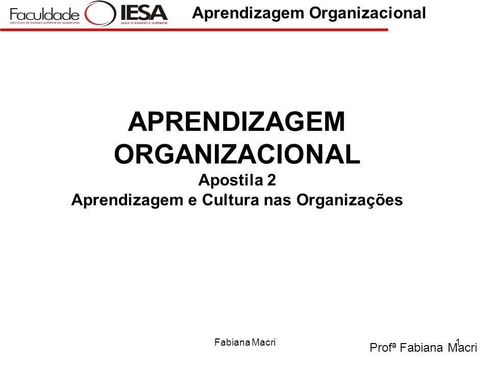 APRENDIZAGEM ORGANIZACIONAL Apostila 2 Aprendizagem e Cultura nas Organizações